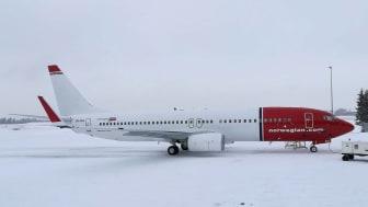 Norwegians sista leverans av modellen 737-800 som landat på Oslo Gardermoen med registrering LN-NIJ