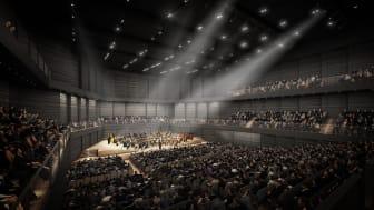 Zukünftiger Interimskonzertsaal der Münchner Philharmonie (Copyright: gmp International GmbH).