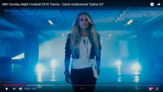 """A screenshot of Carrie Underwood's """"Game On"""" music video"""