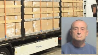 Lorry driver Andrzej Krasnodebski (inset) was caught at Dover smuggling 9.5 million cigarettes into the UK