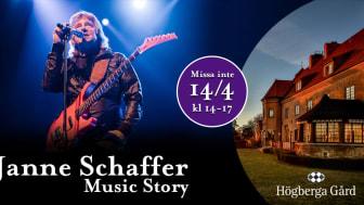 Söndagen den 14 april kl 14-17 äntrar Janne Schaffer scenen med sin hyllade show, Janne Schaffer Music Story.