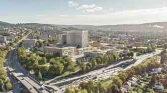 Tidligere skisseforslag for Nye Aker Sykehus (illustrasjon utarbeitet av Nordic)