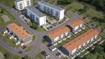 Översiktsilllustration av det kommande kvarteret med radhus (BoKlok Mittpunkten) och lägenheter (BoKlok Koordinaten) i Kvarnbäck, Höör.