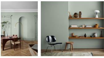 Til venstre: bordet er malt med LADY Supreme Finish 20142 Daydream. Til høyre: hyllene fra IKEA er malt fargen 10001 Dijon Yellow