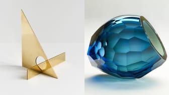 Til venstre: Falke Svatun, Brass MIrror Series (Foto: Falke Svatun). Til høyre: Kjersti Johannesen, Tidal Current (Foto: Kjell Brustad)