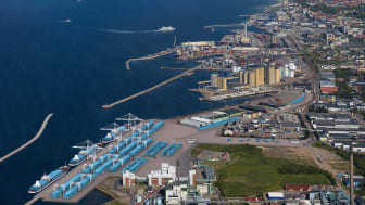 Ny containerterminal i Helsingborgs Hamn. Photo: Bertil Hagberg, visionskiss: Studio E.