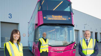 Infrastructure Minister, Nichola Mallon, with Wrightbus CEO Buta Atwal and Translink Group Chief Executive Chris Conway