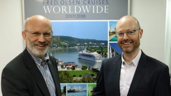 Managing Director Mike Rodwell (l) congratulating new Sales and Marketing Director Justin Stanton (r)