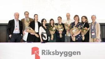 Årets stipendiater i Riksbyggens Jubileumsfond Den Goda Staden samlade på scenen.