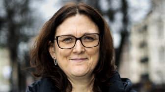 Cecilia Malmström, tidigare EU-kommissionär och slutkandidat till generalsekreterare för OECD, medverkar i ett samtal om världshandeln som arrangeras av Folkuniversitetet och Göteborgs universitet. Foto: Johan Wingborg/Göteborgs universitet