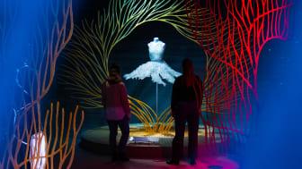 (Foto: Daniel Rasmussen) Designeren Iris van Herpen er inspireret af vand, og står bag denne bobelkjole af tusindvis mundblæste glaskugler. Den hollandske designer er kendt for at kombinere beklædningshåndværk med ny teknologi og naturvidenskab.