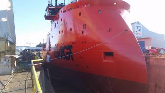 'Esvagt Aurora' in dry dock at GMC in Stavanger