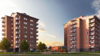 Bostadsrättsföreningen Riddaren, Berga i Linköping, beräknas bli klar för inflyttning under 2019.