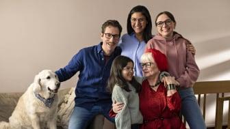 Familjen som kommer att synas i Synoptiks nya kommunikation.