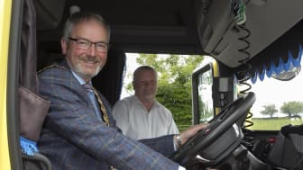 Mayor of Mid and East Antrim Borough, Councillor William McCaughey, with Lyle Watson, Group Training Manager with McBurney Transport in Ballymena