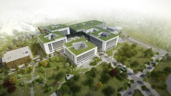 The first building stage of Stavanger University Hospital is scheduled for completion in 2023.  Illustration: SUS2023 c/o Nordic Office of Architecture
