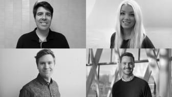 Från övre vänstra hörn och klockvis: Eduardo Gomes, Fanny Westerlund, Christoffer Routledge och Erik Silfver har alla kompetenser och personlighetsdrag som behövs för att få affärsidén att lyfta.