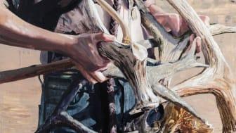 "Detalj från Sara-Vide Ericson ""The Percussionist"", 2019 olja på duk, 190x130 cm"
