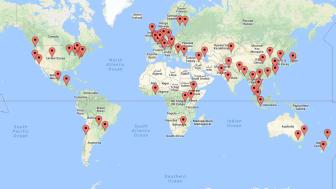 På kartan markeras de städer där alumnträffar arrangeras