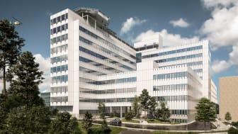Illustration: Carlstedt arkitekter/CF Møller. Illustrationerna visar byggnadens ungefärliga storlek. Utformning och fasad kan komma att ändras.