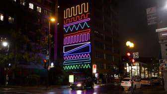 Spidertagin 'Interactive Neon Mural' -sarjan teos Montrealissa, Kanadassa