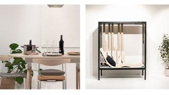 """Produkterna """"Home"""", matbordet där skivan kan fällas upp och bli en arbetsplats, och """"Recess"""", skapade av industridesignstudenter på Högskolan i Gävle"""