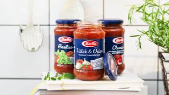 Ett urval av Barilla pastasåser. Vitlök & Örter, Classico och Basilico.