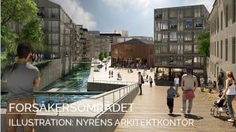 Forsåkersområdet i Mölndal där bostäder och verksamhetslokaler planeras. Ill: Nyréns Arkitektkontor.