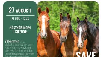 Välkommen till en digital rundvisning av nyheter och nya funktioner i den uppdaterade plattformen för statistikmodellen Hästnäringen i siffror.