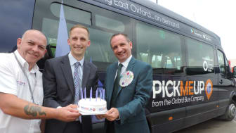 Oxford Bus Company PickMeUp driver Dennis O'Keefe with Luke Marion, Finance and Comemrcial Direcrtor, and Phil Southall, Managing Director