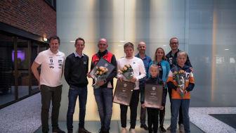 Fra venstre: Bredde- og rekrutteringssjef Vegar Rolfsrud, Regionsjef Nord XL-BYGG Arve Oldertrøen, vinnerklubbene og Johannes Thingnes Bø