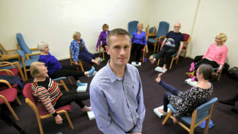 Dr Garry Tew with participants in a yoga class in Harrogate