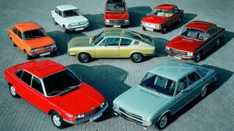1971 portefølje af Audi og NSU, der repræsenterer Vorsprung durch Technik