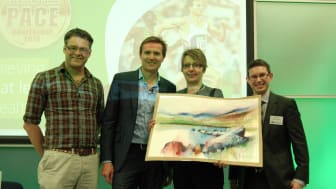 L to R - Acclaimed Painter Ian Fennelly, Roger Black MBE, Painting Winner Fiona Davies & Finegreen Chief Executive Neil Fineberg