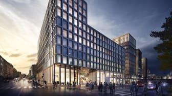 Nybygg i Vika: Slik ser det planlagte nybygget i Ruseløkkveien 26 ut, sett fra sjøsiden. I dag ligger House of Oslo her. Planlagt byggestart er om ett års tid, med ferdigstillelse i 2021. Illustrasjon: Schmidt Hammer Lassen Architects.