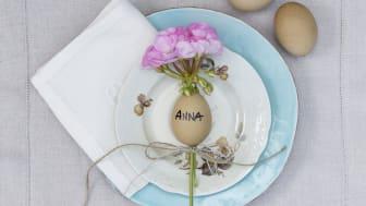 Söt påskdukning med pelargon och blåsta ägg. Foto: Pelargonium for Europe