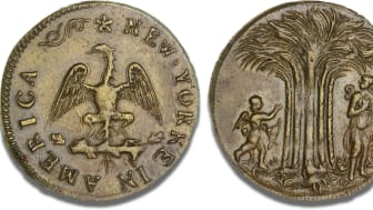 Amerikansk messingmønt, New York(e), ca. 1668 - 1673. Vurdering: 70.000 kr.