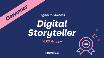 "Die Vista Gruppe gewinnt die Digital PR Awards in der Kategorie ""Digital Storyteller"""