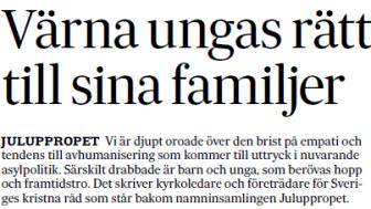 Landets kyrkoledare skriver på SvD Brännpunkt 23 december 2016.