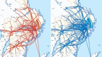 Arbetspendling, kvinnor (rött) och män (blått), 2018 mellan kommuner i Stockholm- Mälarregionen. Se bilderna i sin helhet under relaterat material.
