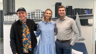 Formand for CRPS Foreningen, Trine Mosskov Poulsen, sammen med Jeppe Rahbek, Rahbek Media (tv) og Patrik Lazzarotto, LAZZAWEB (th).