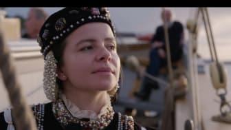 Victoria Enefors som drottning Katarina Jagellonica ombord på Tre Kronor af Stockholm