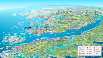 Denna äventyrskarta visar några av alla de bekväma utomhusäventyr som finns i Lysekil.