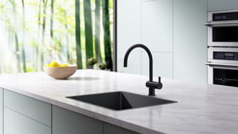 MORA REXX mixer for the kitchen in a black shade.