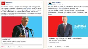 Spark puts its idea (left) side-by-side with the Johnson campaign's own Facebook post on its website http://stickquarterly.com/gary/ . This seems to show unequivocably that one copied the other. But which came first?