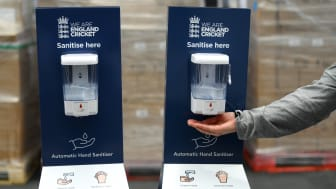 Hand sanitising station installed by the ECB at the Ageas Bowl and Emirates Old Trafford (Getty Images)
