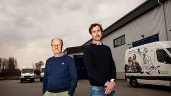 Calle Björkman, som startade Hr Björkmans Entrémattor 1993, tillsammans med Jonas Persson, produktions- och distributionschef, satsar miljövänligt med två nya eSprinter