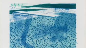"David Hockney: ""Lithograph of Water Made of Thick and Thin Lines and Two Light Blue Washes"" (1978-80)"
