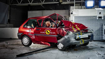 Euro NCAP 20th – the 1997 Rover 100 shortly after a 40mph frontal offset crash test in the Thatcham Research Crash Lab