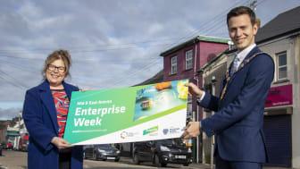 Mayor of Mid and East Antrim, Councillor Peter Johnston, launches MEA Enterprise Week with Jacqueline Reid, Economic Development Assistant